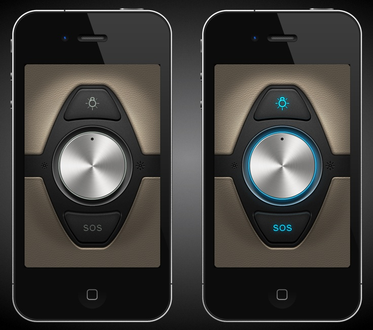 Flashlight app UI for iPhone 4. LED Flashlight with strobe and SOS features. /Gianluca Divisi #UI