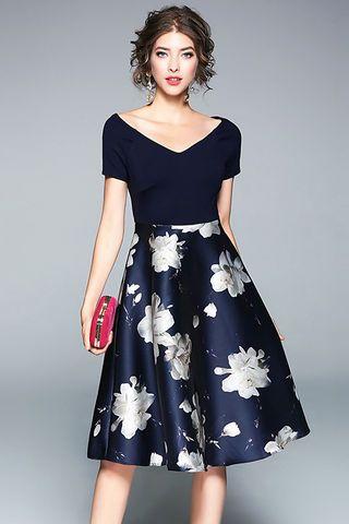 36.99 Dark Blue V-neck Short Sleeves Floral Print Dress  d9996926e