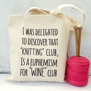 'Knitting And Wine Club' Knitting Tote