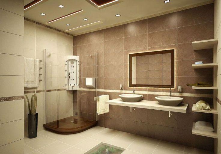 Большая и современная ванная комната с двумя подвесными раковинами и душевой кабиной в стиле минимализм. #стиль_минимализм #душевая_кабина #современная_ванная