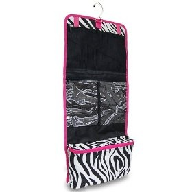 Women's Hanging Travel Cosmetic - Makeup Bag - Zebra Print with Pink Trim $11