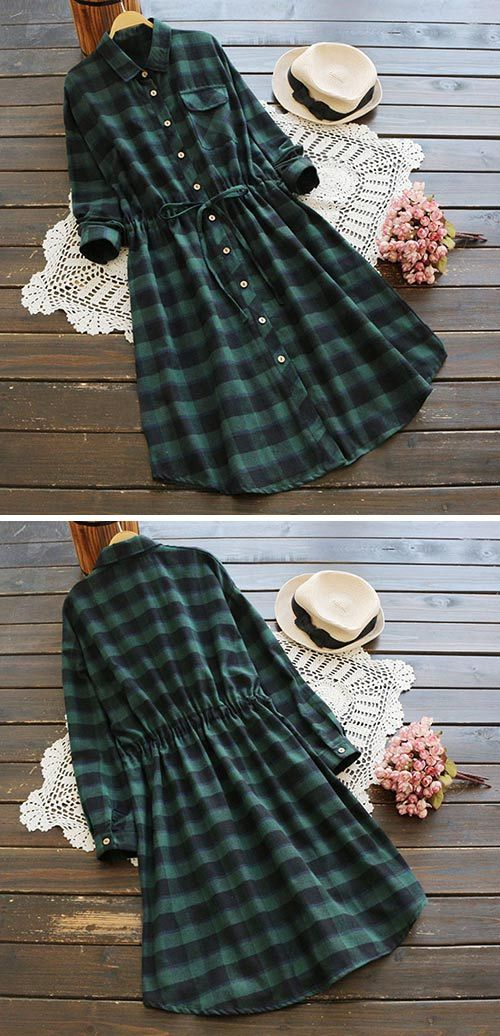 A must-have to get with $28.99! Free Shipping! This plaid shirt dress is detailed with waist tie&font pocket. Enjoy every classics with Cupshe.com