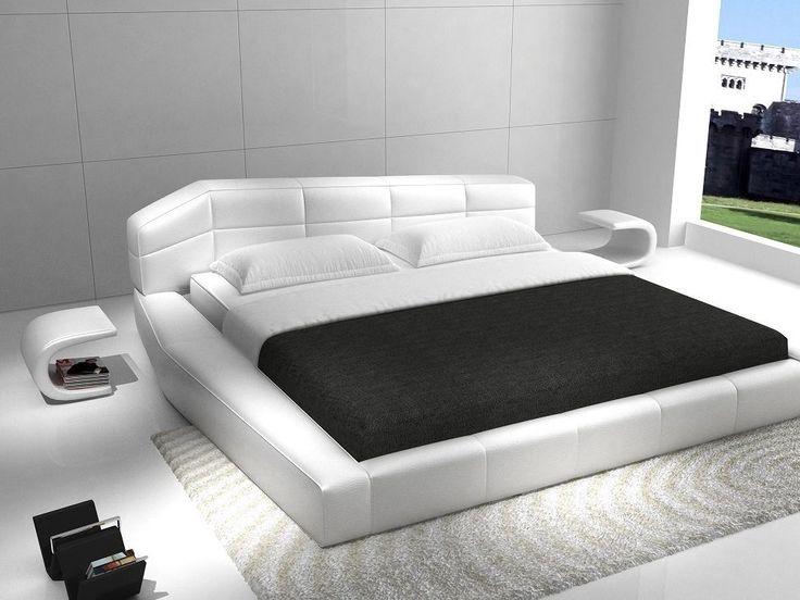 RISHON - KING SIZE MODERN DESIGN WHITE LEATHER PLATFORM BED in Home & Garden   eBay