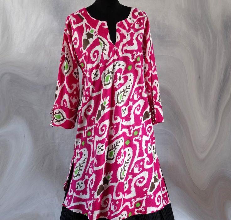 Tunique femme mi longue rose et blanche en coton imprimé ethnique ...