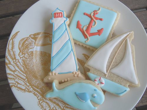 Lovely nautical themed sugar cookies. #food #cookies #beach #ocean #whales