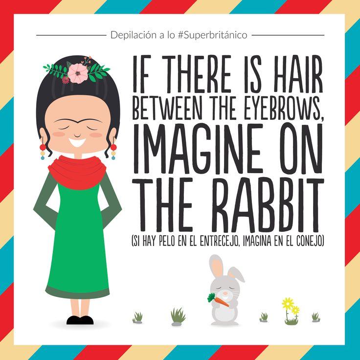 Depílate a lo #Superbritánico: If there is hair between the eyebrows, imagine on the rabbit (Si hay pelo en el entrecejo, imagina en el conejo).