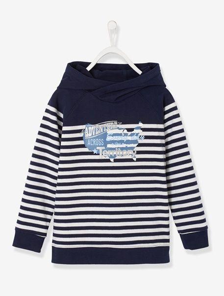 14,99€ Camisola com capuz, para menino - Azul-tinta às riscas+Cru às riscas+Verde-claro às riscas - 1