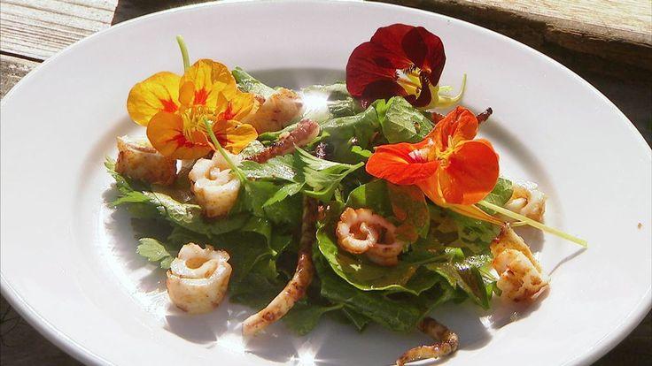 Sallad på bläckfisk, vitlök och persilja  Somrig, fräsch sallad på bläckfisk, en råvara med stor förmåga att fånga upp andra smaker.