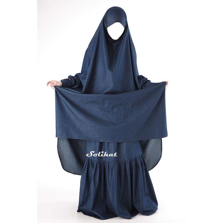 """Джинсовый костюм химар и юбка """"Иман"""" Эта модель - всем известный """"французский"""" костюм, в нашем новом исполнении  Классический химар на завязках, широкий и свободный, для самых строгих! Большое количество ткани создает большие и красивые складки, за счет них костюм отлично скроет вашу фигуру.  Манжет рукава на кнопочках, надежных и стильных. Взять омовение не составит труда.  В комплекте идет новая модель юбки - годе. Выглядит очень женственно, не сковывает движений и позволяет ..."""