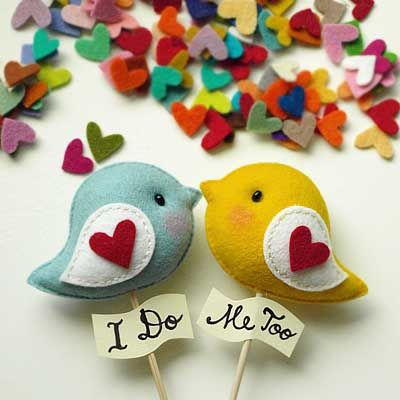 Love Birds - cake topper- can customize with your names