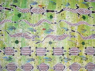 "Ausdesign Tablecloth - Yellow Waters Artist:  Jacob Robert Nakanuli (Ahwon) Artwork design story enclosed with tablecloth  suitable for a 6 seater dinner table  Rectangle - Dinner 206cm x 107cm (81"" x 42"") Australian Made - 100% Cotton Price - $50.00 each [incl GST]"