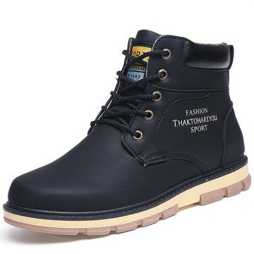 Big Size High Top Outdoor Lace Up Work And Casual Boots For Men
