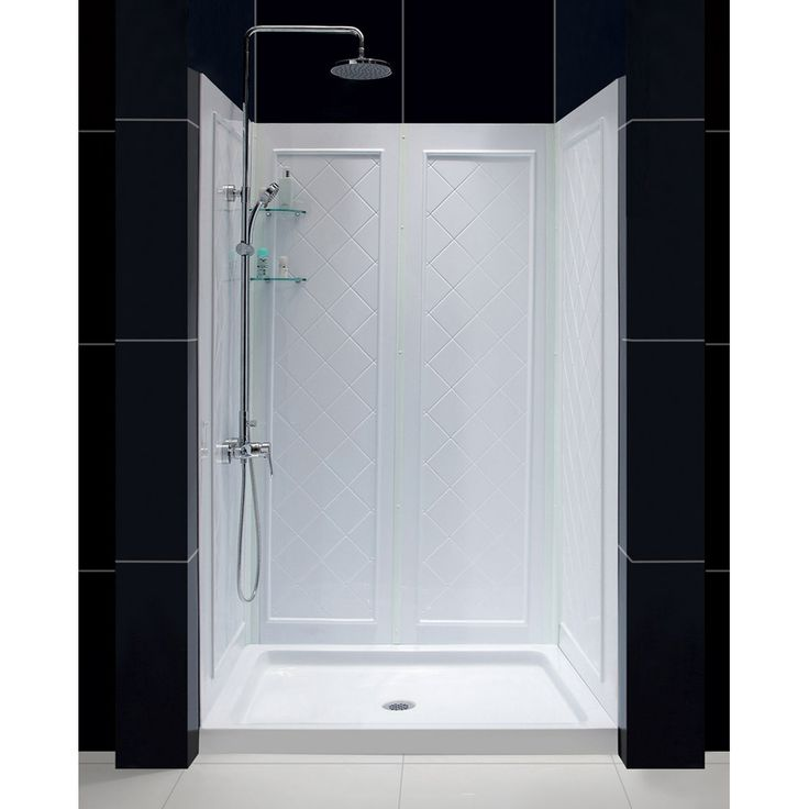DreamLine Shower Base and Back Walls White Acrylic Wall and Floor 2-Piece Alcove Shower Kit (Common: 36-in x 48-in; Actual: 76.75-in x 36-in x 48-in)