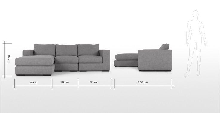 Mortimer 4 Seater Modular Corner Sofa, Shadow Slate Grey | made.com