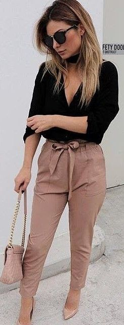 Black Shirt + Tan Work Up Pants                                                                             Source