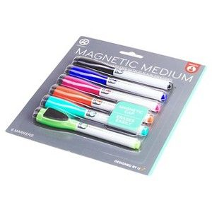 Ubrands Magnetic Dry Erase Markers with Eraser Cap - 6 colors