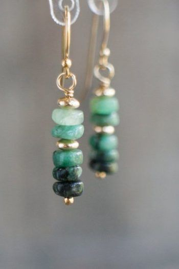 Buy emerald earrings! Raw emerald earrings, gift for her, mother's day, gold and sil …   – diy Schmuck