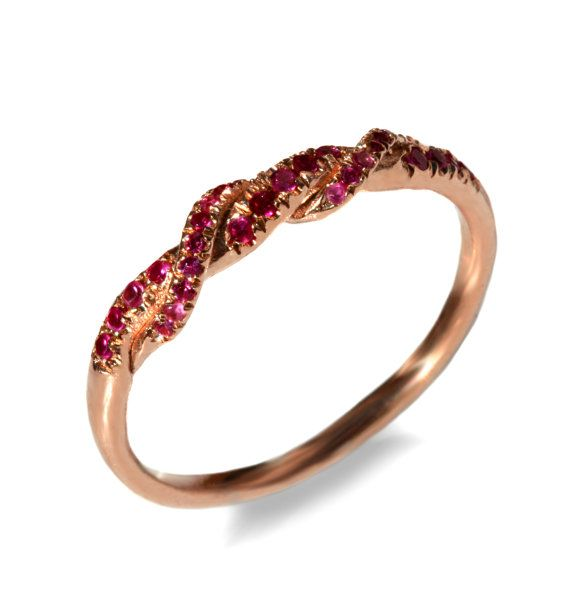 Ruby Diamond Rings: Braided gold wedding ring, Red Ruby wedding band gold knot band, 14k rose gold wedding band, Ruby Wedding band, Anniversary gemstone ring