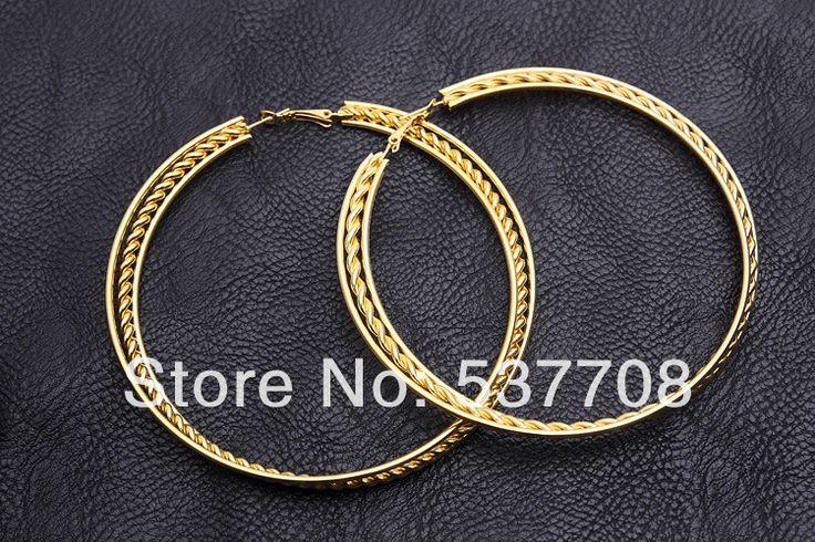 Серьги обруча 18 К желтое золото гальваническим большой большой витая круг для женщин круглые серьги мода обручи Brincos ювелирные изделия серьги
