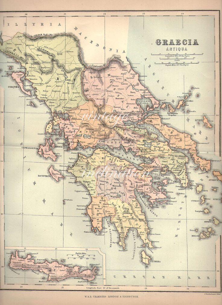 1907 LARGE Vintage antique ANCIENT GREECE by VintageInclination