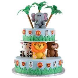 Jungle Theme CakeJungles Baby, Zoos Animal, Baby Cake, Jungles Theme, Jungles Cake, Animal Cakes, Theme Cake, Jungles Animal, Baby Shower Cake