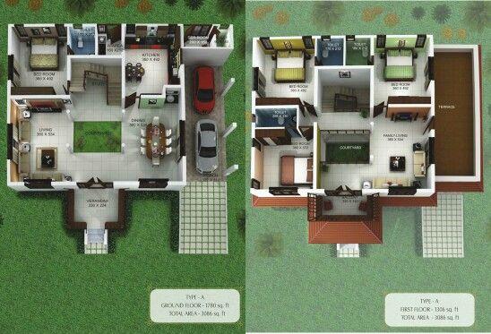 Two storey nalukettu house plan Interior Design Pinterest House