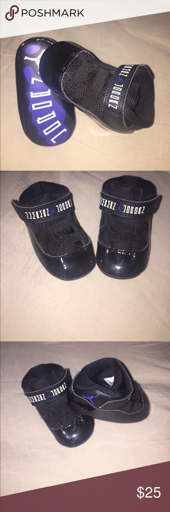 Baby Jordan Space Jams! Black and blue, size 2 Jordan space jams! Super cute with jeans! Jordan Shoes Sneakers