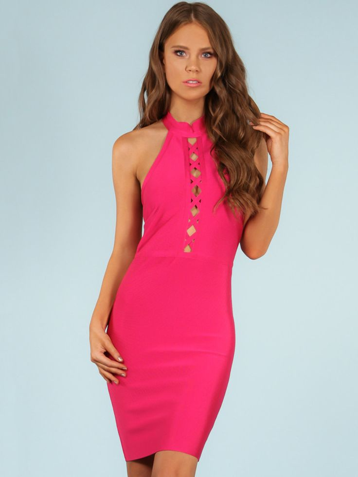 #AdoreWe StyleWe Midi Dresses - WOW COUTURE Fuchsia Open Back Solid Sexy Lace  Up Bodycon