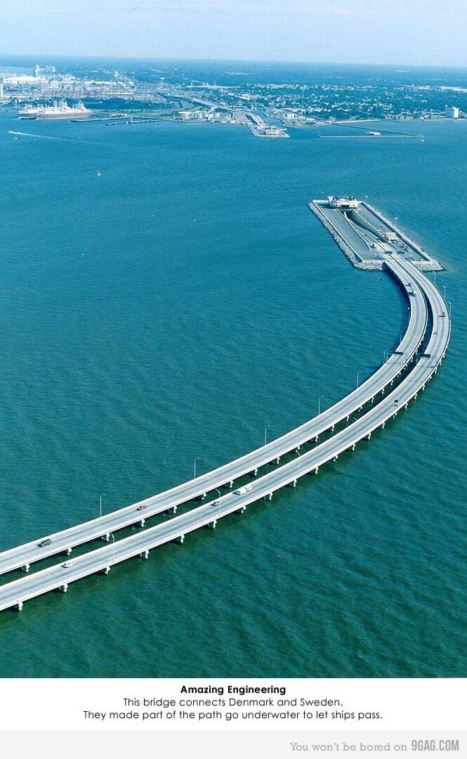 Puente-túnel que une Suecia y Dinamarca