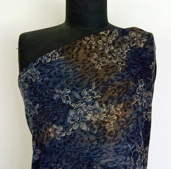 Stretch Knit  Flowers of the Night Sky by altfabrics on Etsy, $10.50