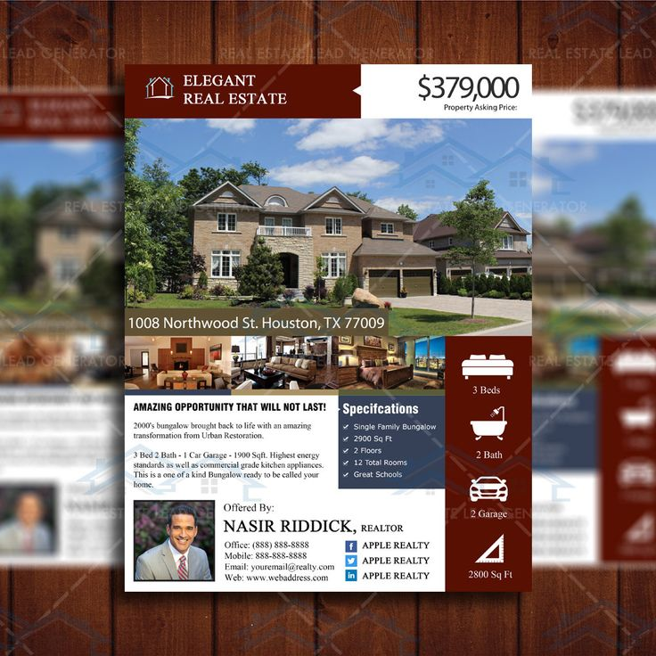 52 best real estate images on pinterest real estate for Real estate listing brochure template