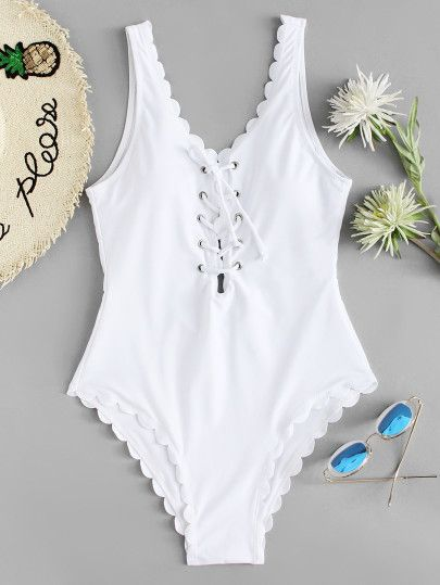 Lace Up Front Scallop Swimsuit -SheIn(Sheinside)