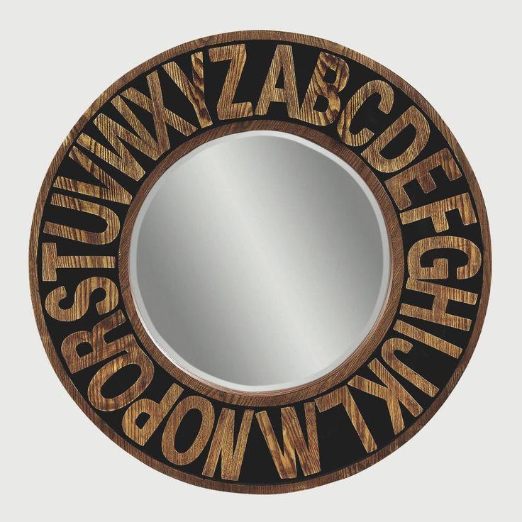 Round Wood Alphabet Mirror for kids room