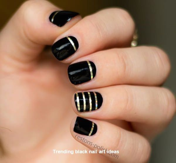 20 Simple Black Nail Art Design Ideas blacknails nail in