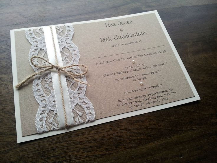 Handmade Vintage Shabby Chic Rustic Lace and Twine Wedding Invitation