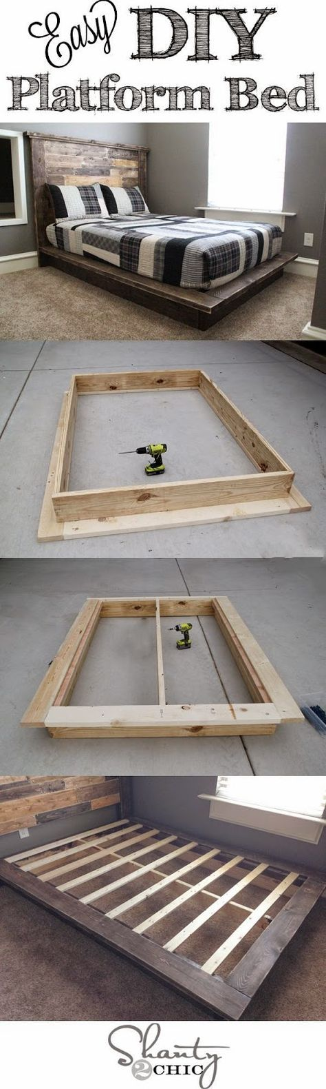 Best DIY Projects: Easy DIY Platform Bed that anyone can build!                                                                                                                                                                                 More