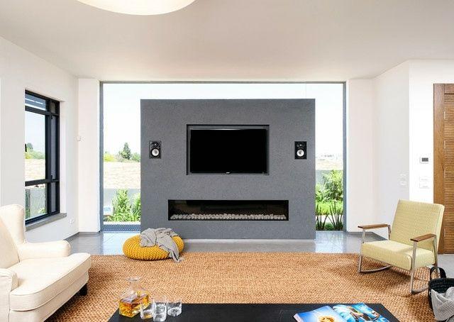 Wohnzimmer Ideen Kamin Fernseher praktisch