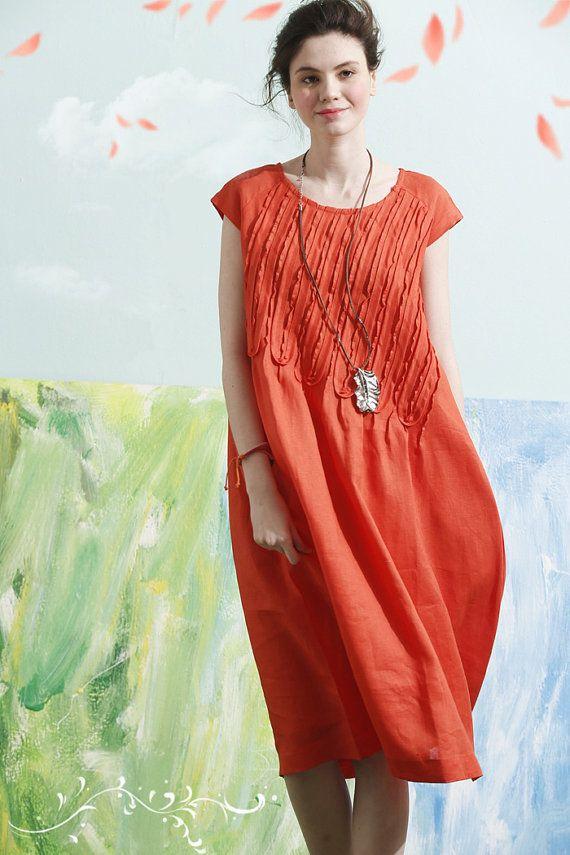 luxurious ruffle long linen dress for women.  【Details】 1. handmade raw edge…