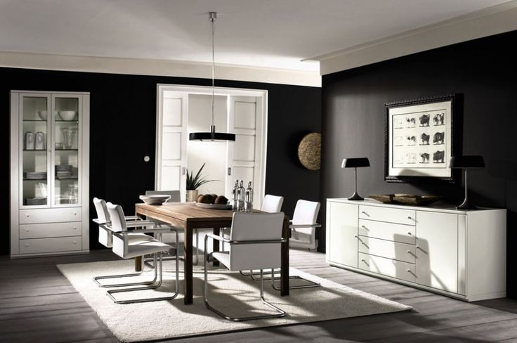 Interior:Glamour Black And White Dining Room Decor Inspirations With Wooden Dining Table And White Chairs Also White Display Cabinet Black and White Room Decor for Masculine Look