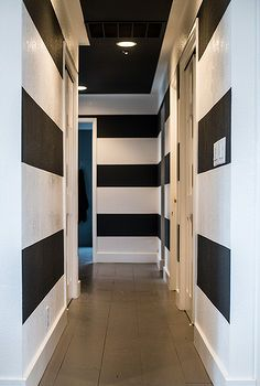striped hallway, foyer, painting, walls ceilings