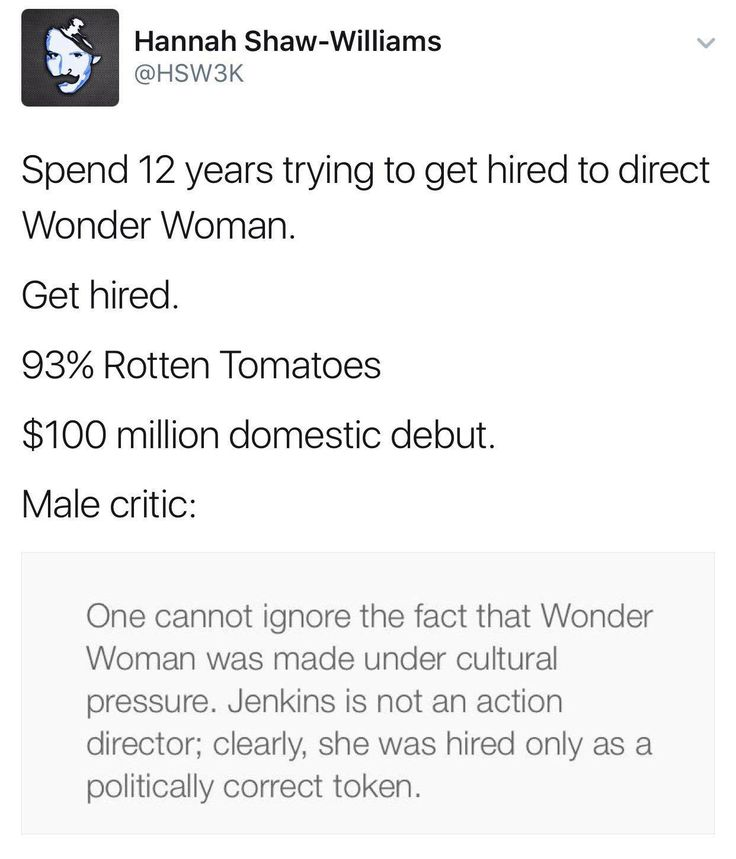 Boo hoo, a woman made an action movie about a woman hero and I feel ignored.