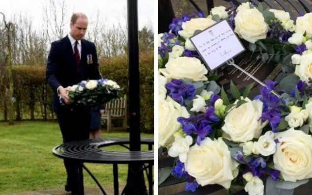 WhatKateWore.com (@WhatKateWore) | Twitter  Prince William laying a wreath in memory of the police officer who was killed during the terror attack on Westminster Bridge, London, UK.
