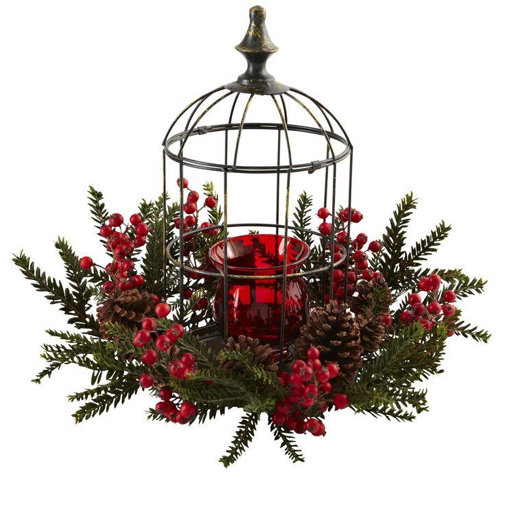 Pine Berry Birdhouse Candelabrum