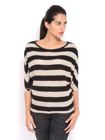 United Colors of Benetton Women Black & Off-White Striped Top