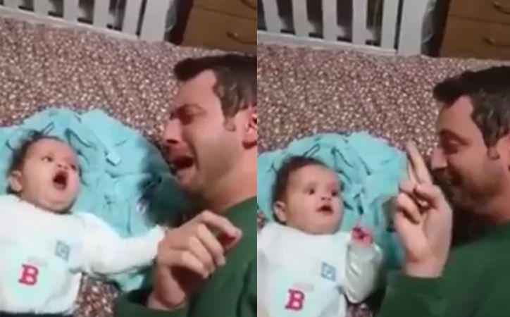 Pai mudo acalma bebê usando linguagem de sinais; veja o vídeo