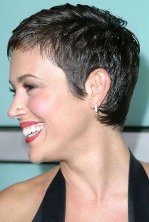 Alyssa Milano short hair left and back view
