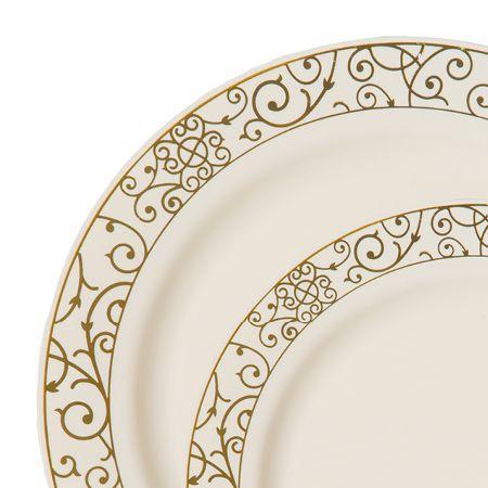 Venetian Ivory Gold Plastic Dinnerware Value Pack
