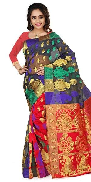 Cheerful Black And Multi-Color Silk Saree With Blouse.