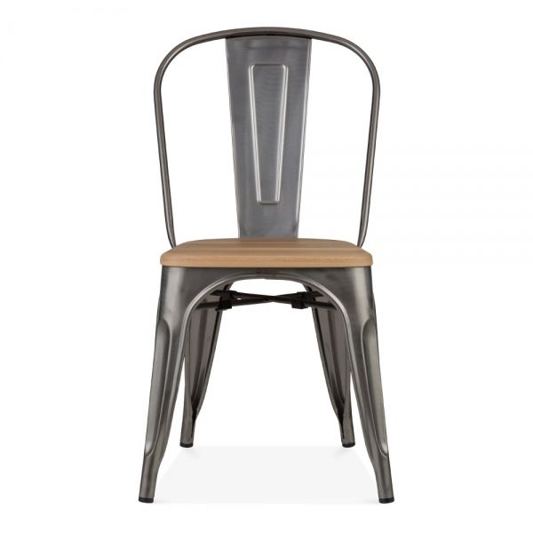 Xavier Pauchard Tolix Style Metal Chair Solid Elm Wood Gunmetal Natural Wood Seat Metal Chairs Chair Rustic Metal