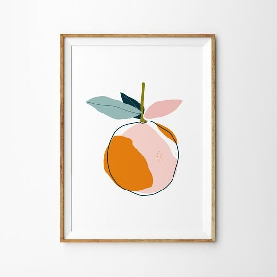 Pink Orange Botanical Print – Art Print – Kitchen Art – Childrens Wall Art – Fruit Print